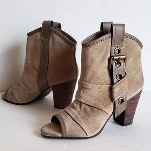 VINTAGE AMERICA Collection Leather Open Toe Bootie